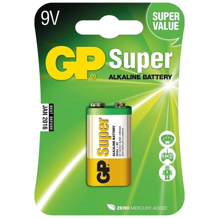 Bateria Super Alcalina 9V GP Blister C/ 1