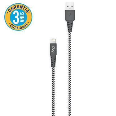 Cabo USB Lightning 1,5m Nylon Trançado Preto e Branco I2GO*