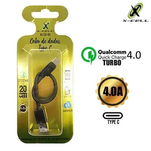 Cabo USB Tipo C 20cm em Malha 4.0 Quick Charge X-Cell