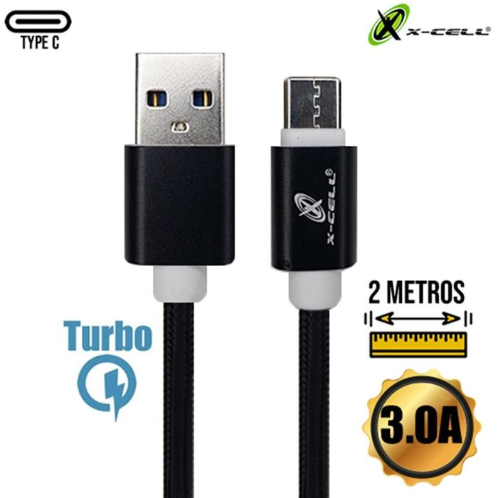 Cabo USB Tipo C 2m em Malha X-Cell