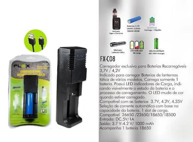 Carregador de Bateria c/1 Bateria 18650 Flex