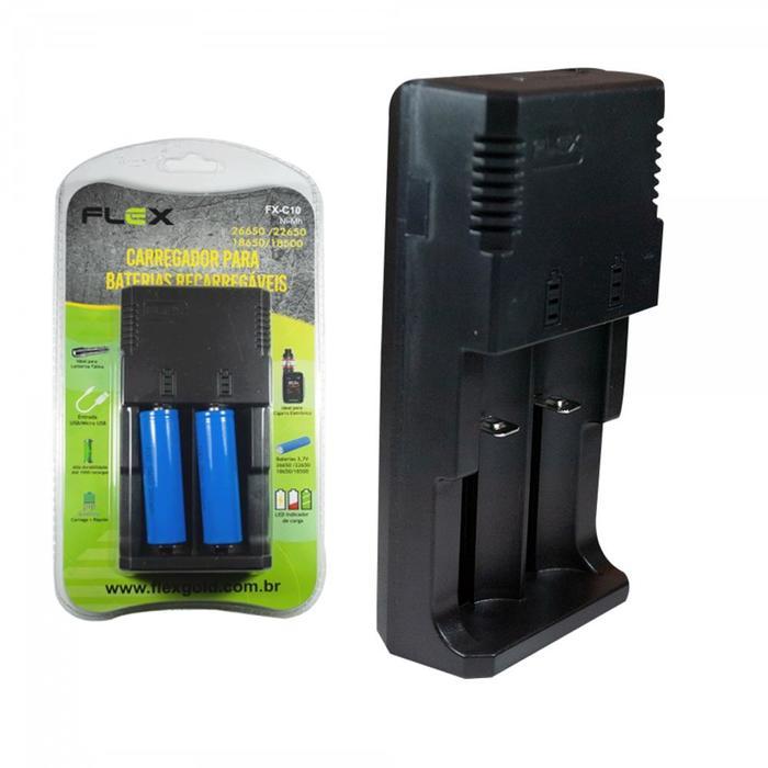 Carregador de Bateria c/2 Baterias 18650 Flex