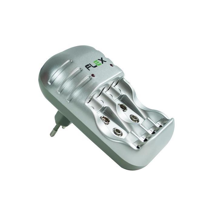 Carregador De Pilhas AA/AAA/9V C/ 4 Pilhas AA Flex