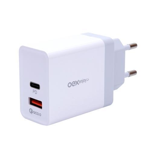 Carregador de Tomada 36W c/ 1 Saída Tipo C e 1 Saída USB OEX