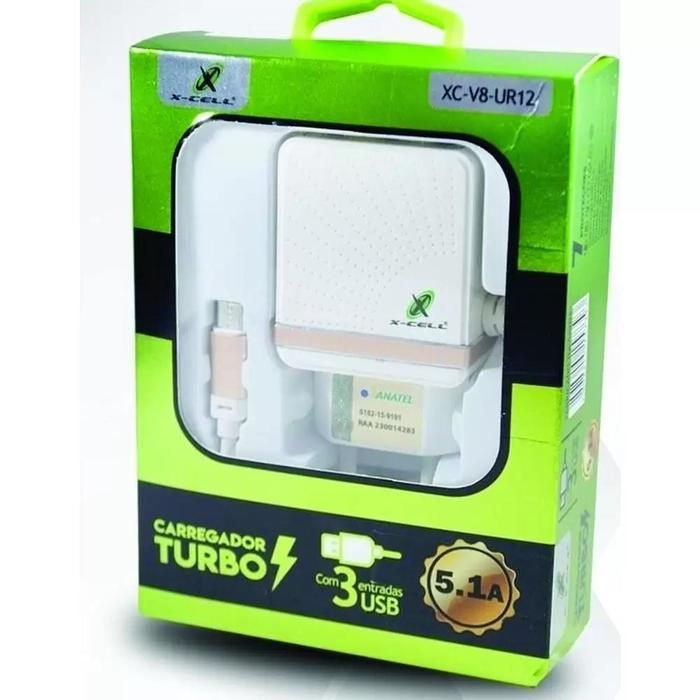 Carregador de Tomada Turbo 5.1A c/ 3 USB e Cabo Micro USB