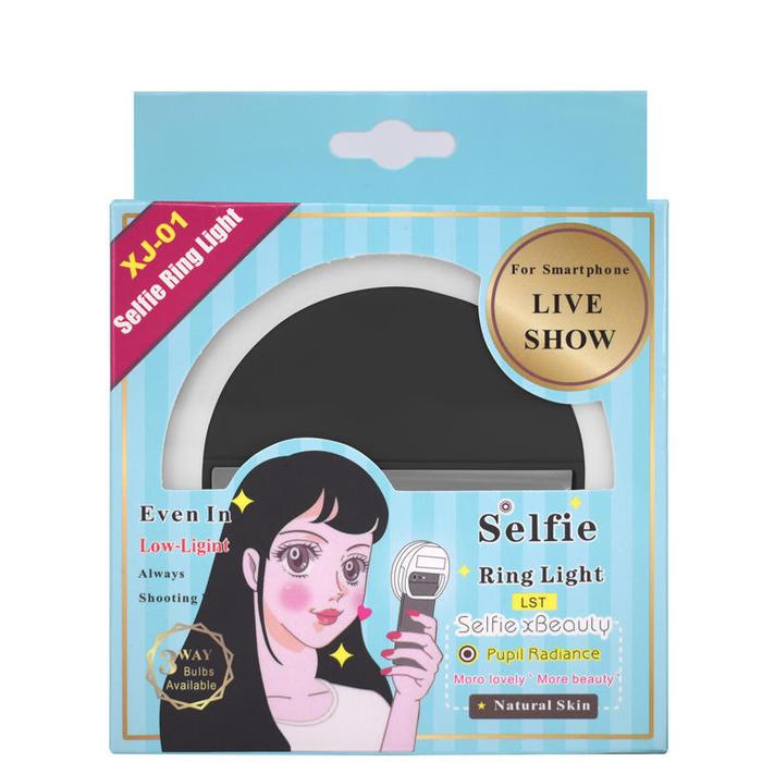 Clipe Anel Led Luz Selfie Para Celular Preto*