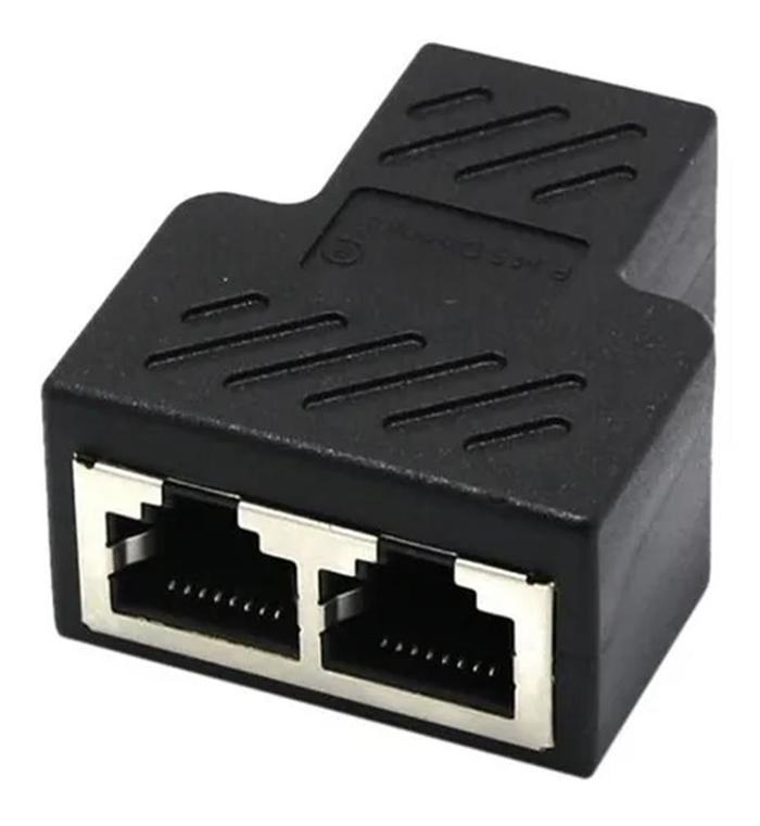 Conector Extensor Duplicador Rj45 Splitter Plug T Preto