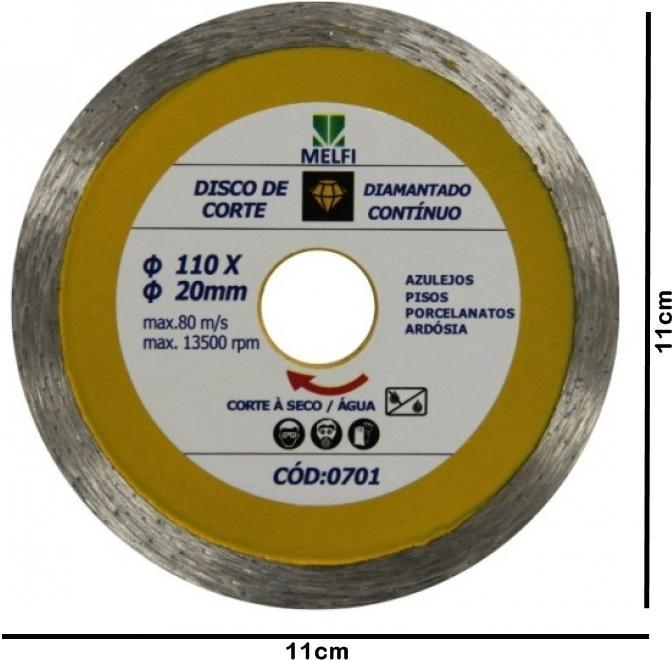 Disco de Corte Diamantado Contínuo 110 X 20m*