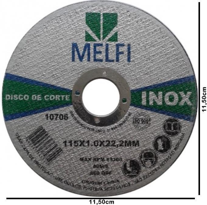Disco de Corte p/ Inox 115 X 1,0 X 22,2mm c/ 10 Unidades*
