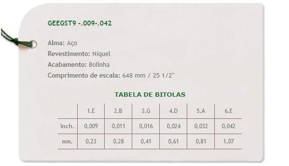 Encordoamento em Aço C/ Bolinhas P/ Guitarra Giannini .009*
