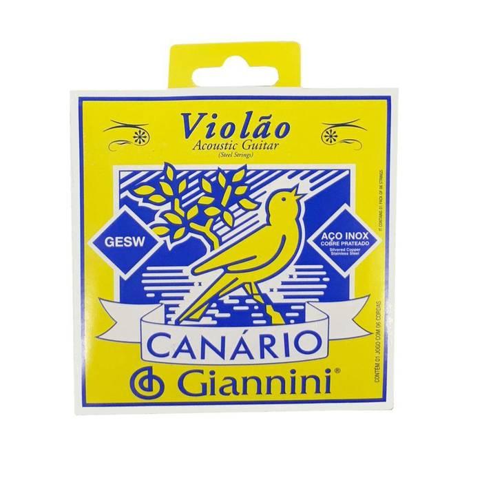Encordoamento Em Aço P/ Violão Giannini GESW - Média - Canário*