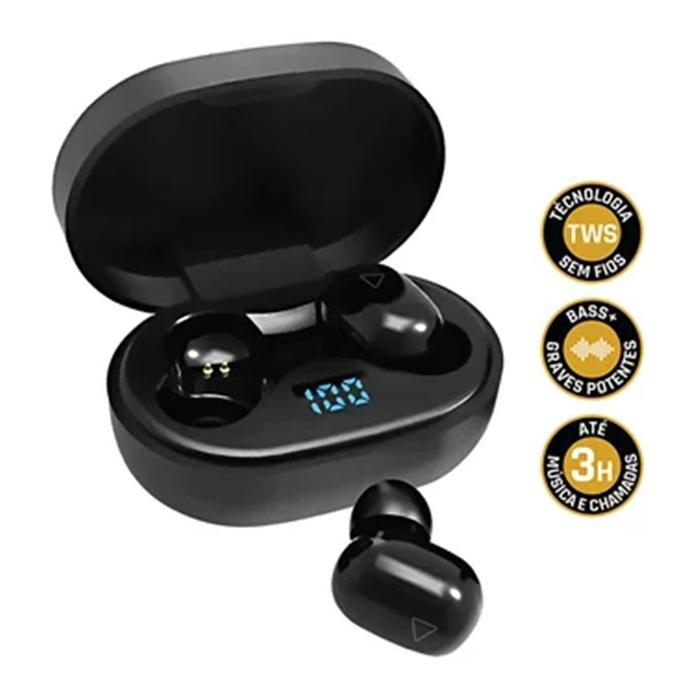 Fone de Ouvido Bluetooth Sem Fio Air Pro Go i2GO Preto C/Estojo de Carregamento