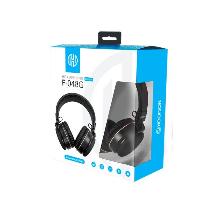 Fone de Ouvido Headphone Bluetooth P2 Micro SD FM Hoopson Preto###
