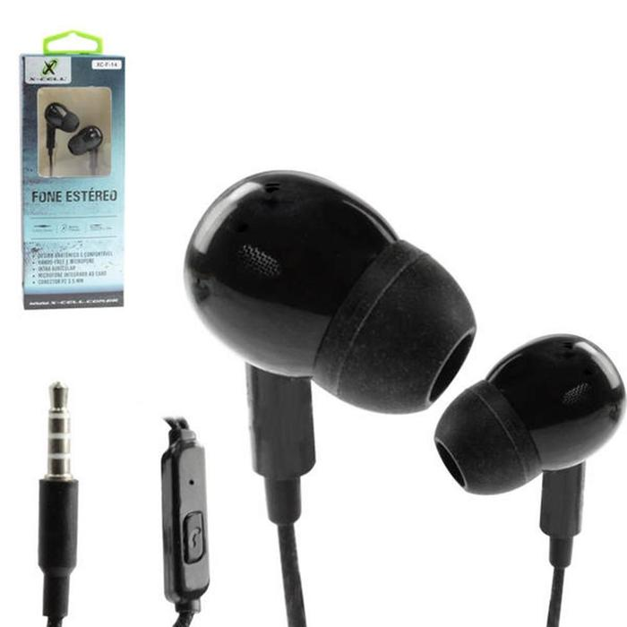 Fone De Ouvido P2 Intra Auricular c/ Microfone Preto X-Cell
