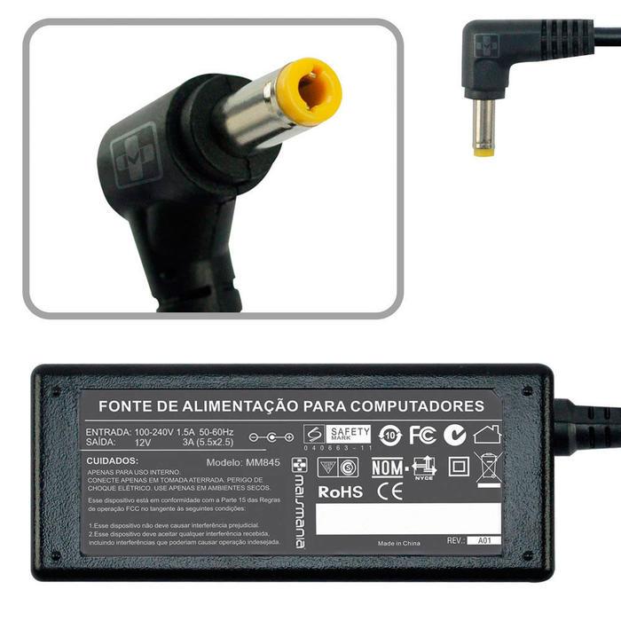 Fonte Carregador Note 12V 3A 5.5x2.5 P/ Positivo / Intel NUC