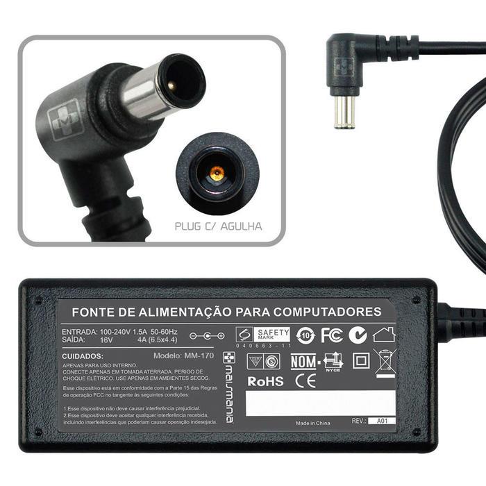 Fonte Carregador Note 16V 4A 65W 6.5x4.4 P/ Sony VAIO