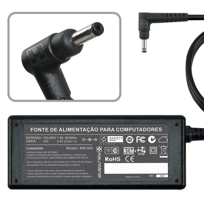 Fonte Carregador Note 19V 3,42A 3.0x1.1 P/ Acer