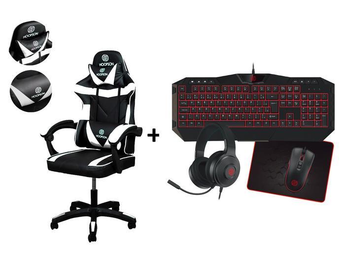 Kit Cadeira Gamer Branca + Teclado Mouse Completo Vermelho