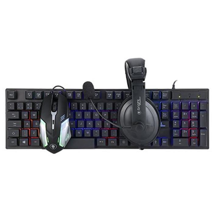 Kit Gamer 3 em 1 Teclado Mouse Headset Bright