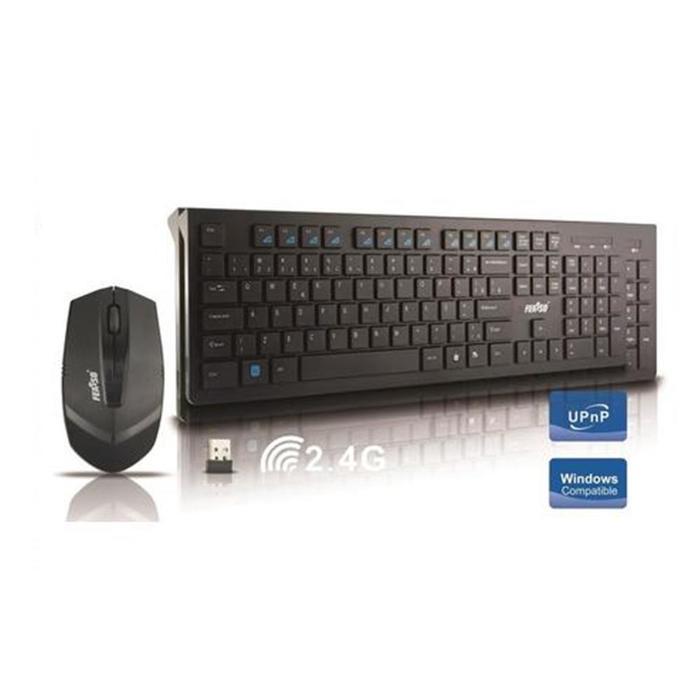 Kit Teclado e Mouse Wireless Preto Feasso