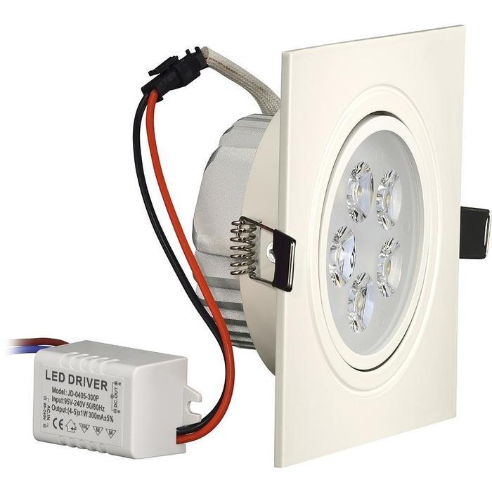 Luminária de LED Embutir 5W Quadrada 12cm