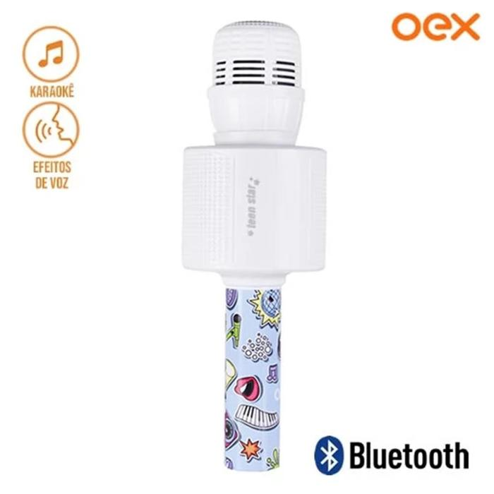 Microfone Teen Star Bluetooth Infantil Azul MK300 OEX###