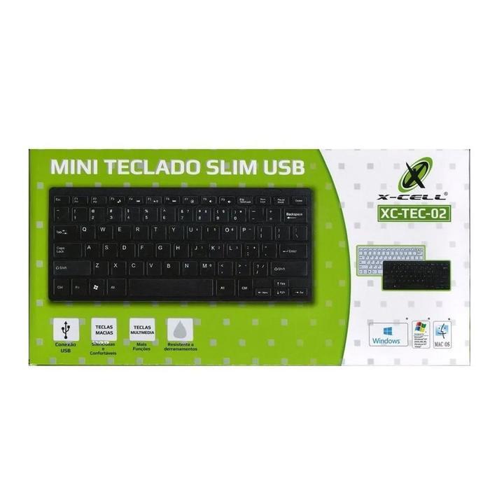 Mini Teclado Multimídia USB XC-TEC-02 X-Cell Preto