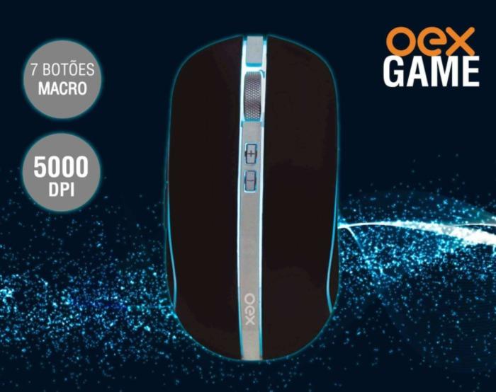 Mouse Gamer 5000DPI 7 Botões Macro Com Lateral Customizavel Hybrid OEX###