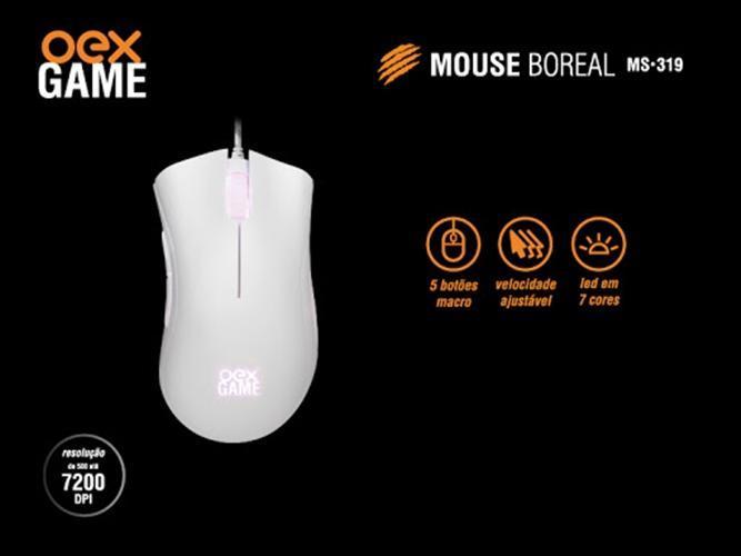Mouse Gamer 5200DPI 5 Botões Macro C/ Led 7 Cores Boreal OEX