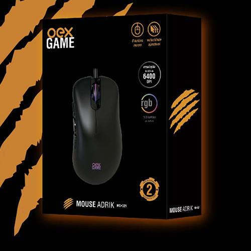 Mouse Gamer 6400DPI 6 Botões Macro RGB Adrik OEX###
