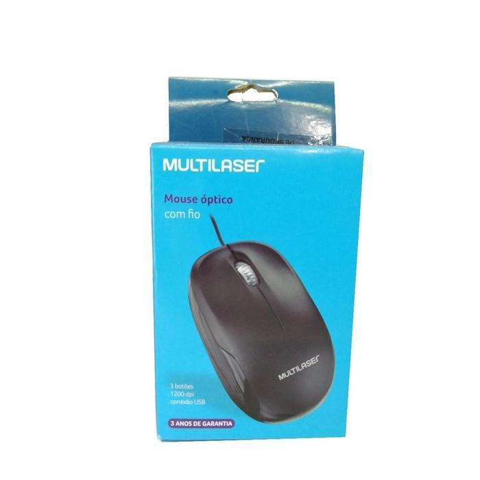 Mouse Óptico USB 1200dpi Preto Multilaser