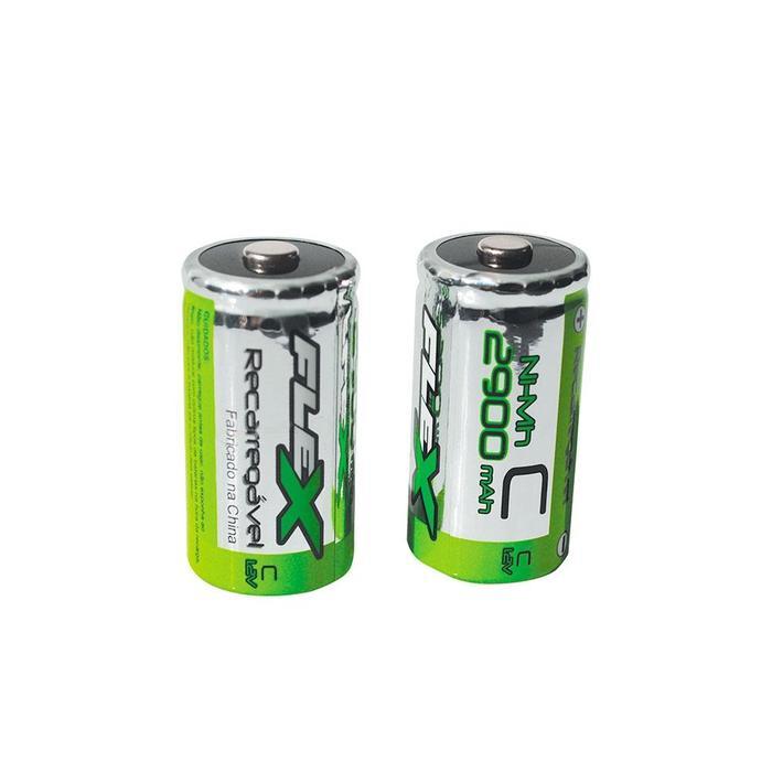 Pilha Bateria Flex Recarregável 1.2V C 2900mAh