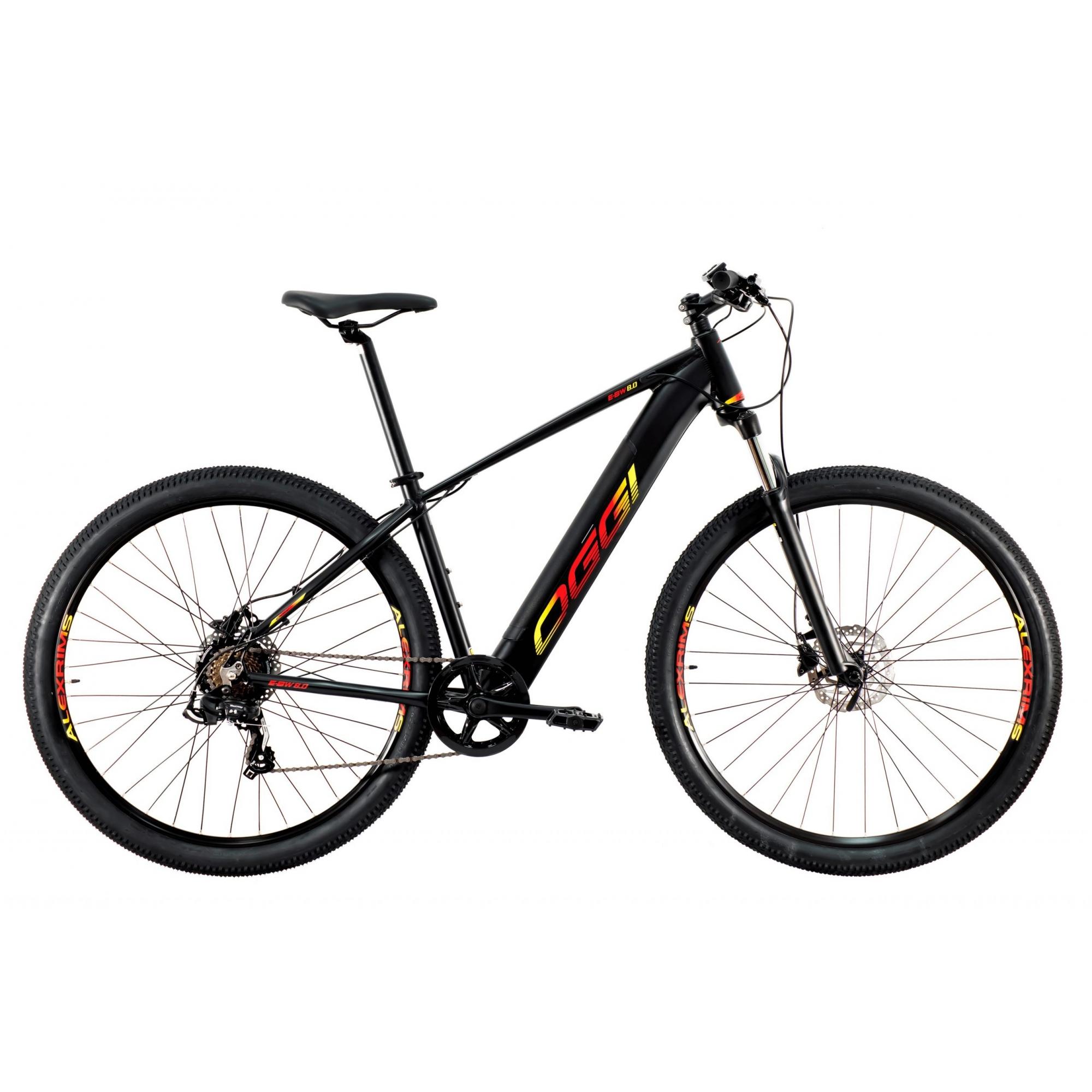 Bicicleta Elétrica Oggi Big Wheel 8.0 7V 2021 - Preto Vermelho e Amarelo