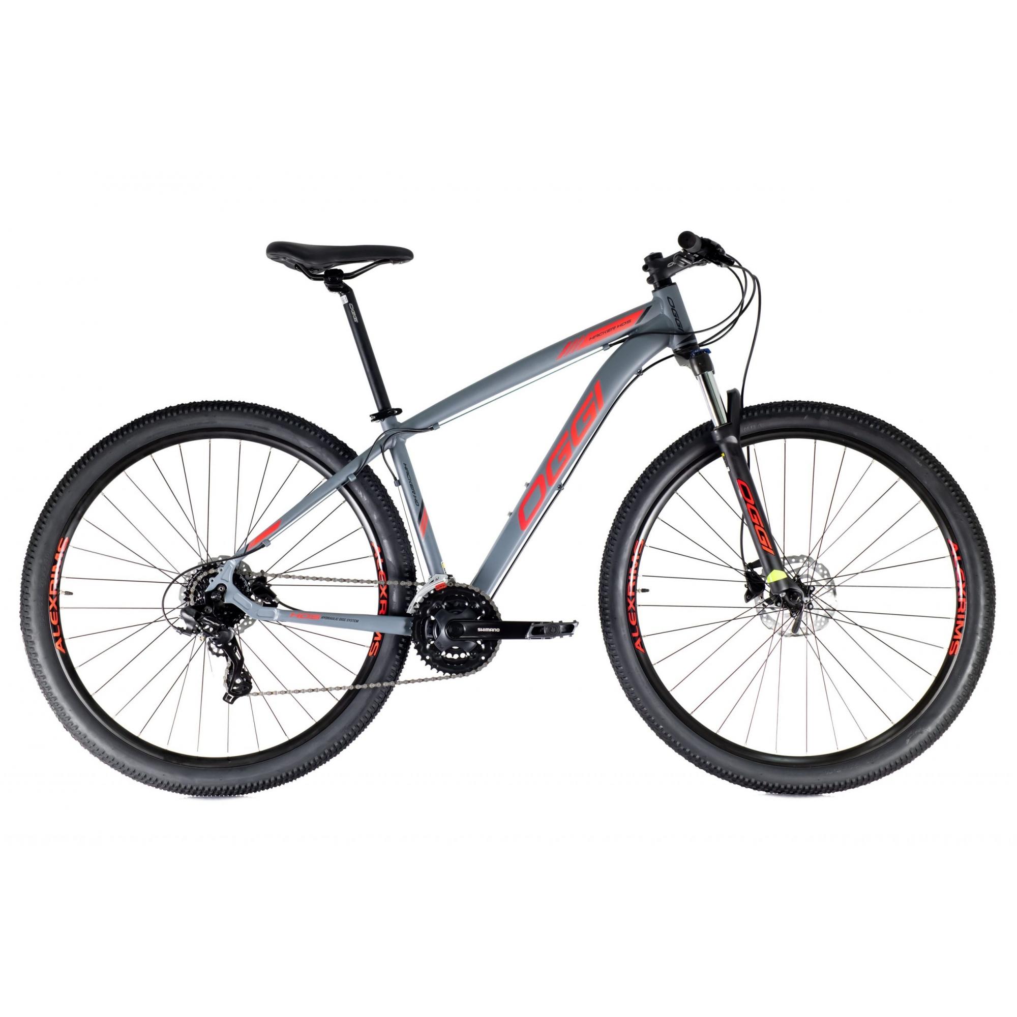 Bicicleta Mtb Oggi Hacker HDS Aro 29 2021 - Grafite Vermelho e Preto