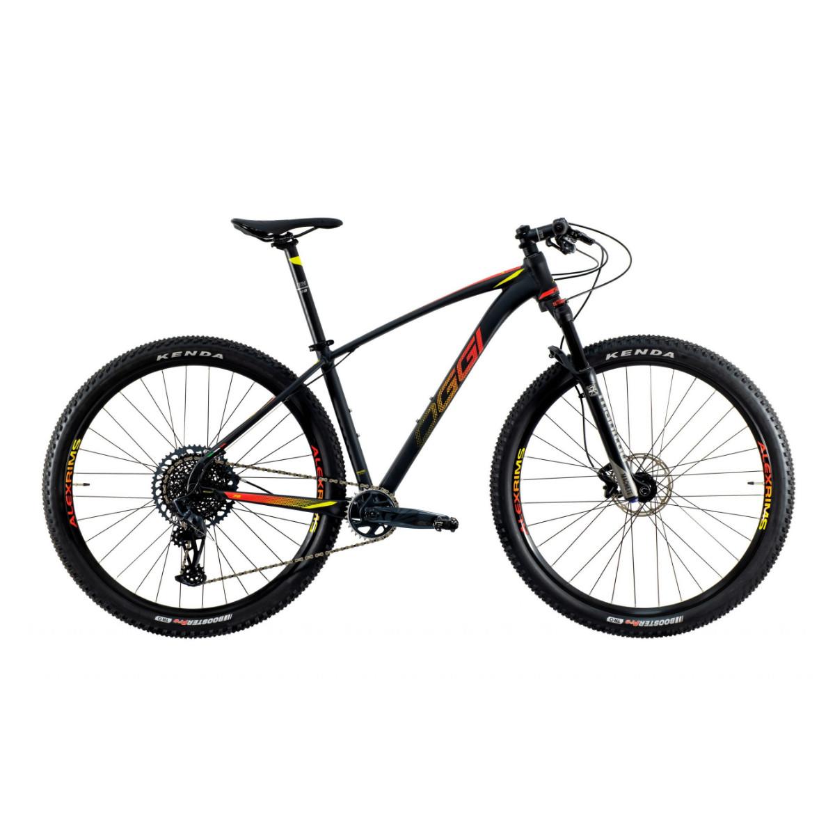 Bicicleta Oggi Big Wheel 7.6 GX 12V 2021 -  Preto Vermelho e Amarelo