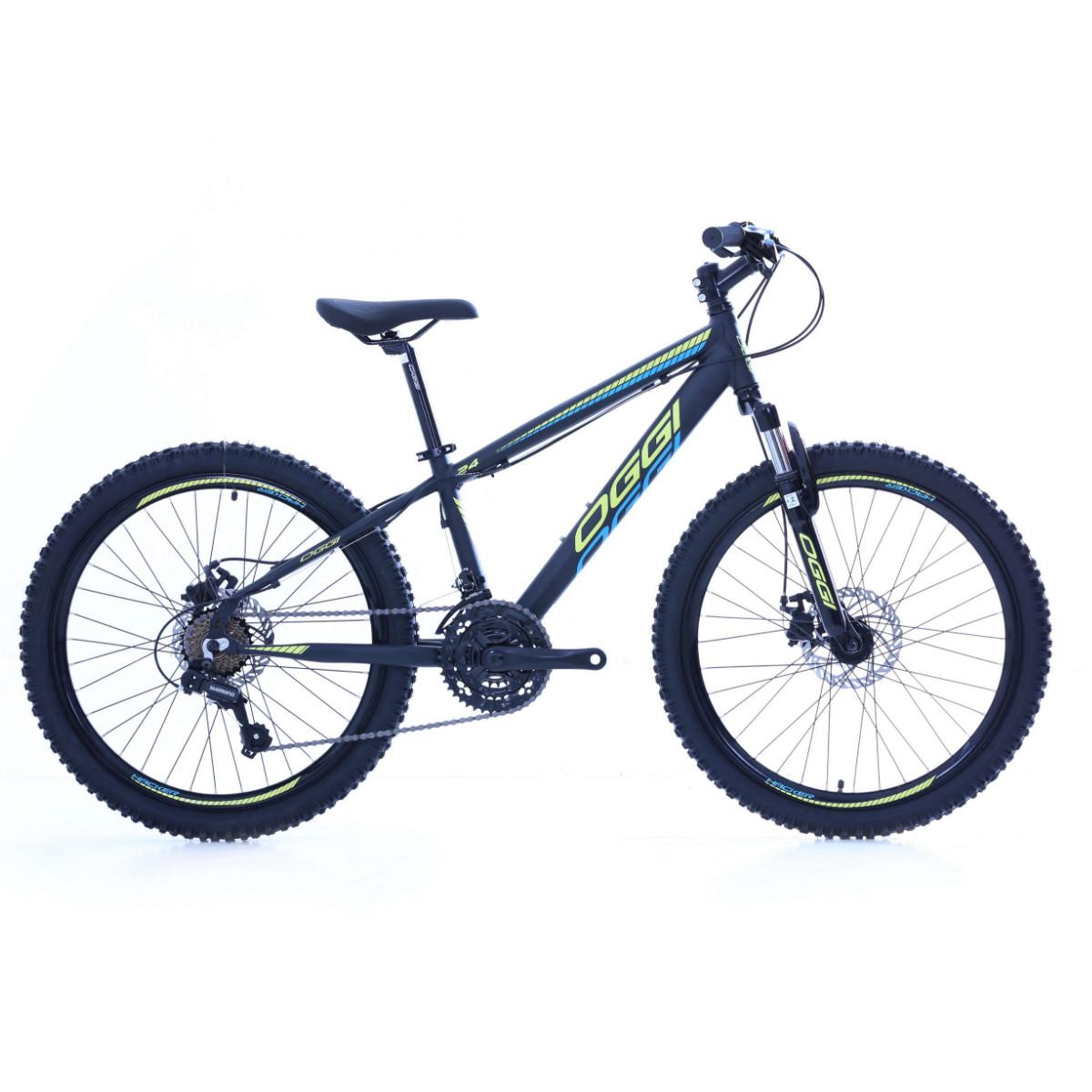 Bicicleta Oggi Hacker Sport Aro 24 - Preto Amarelo e Azul