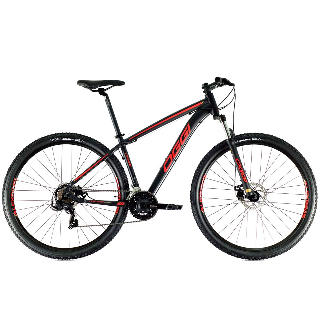 Bicicleta Oggi Hacker Sport Aro 29 2021 - Preto Vermelho E Dourado