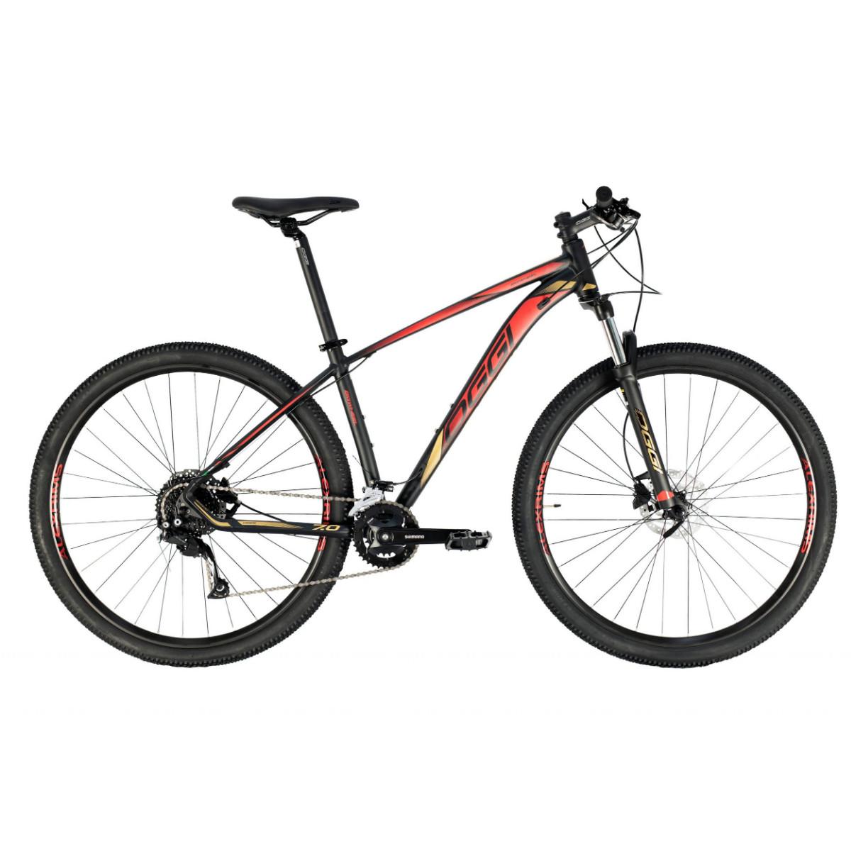Oggi 7.0 Mountain Bike Aro 29 2021 - Preto Dourado e Vermelho