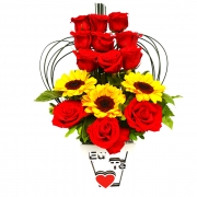 Rosas com Girassóis