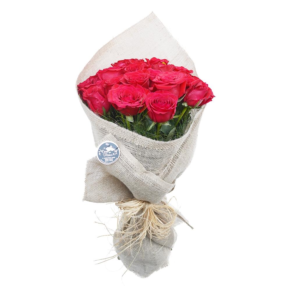 Buque de Rosas Vermelha Rústico