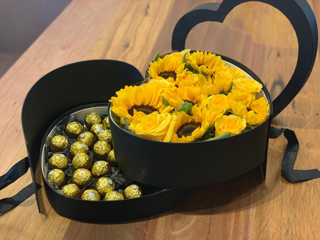 Caixa Box com Girassóis, Rosas e Chocolates