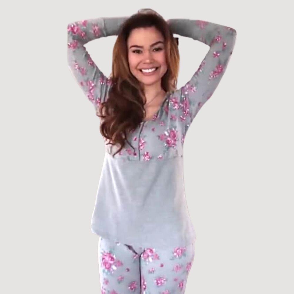 Pijama de Manga Longa Floral