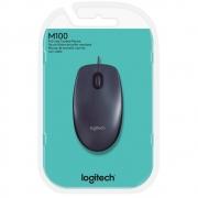 Mouse Logitech Usb, 1000dpi, Preto, M100