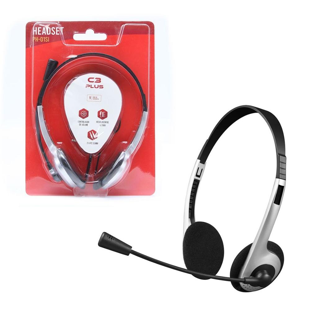 Headset C3 Tech C3Plus Prata P2 3,5mm - PH-01SI