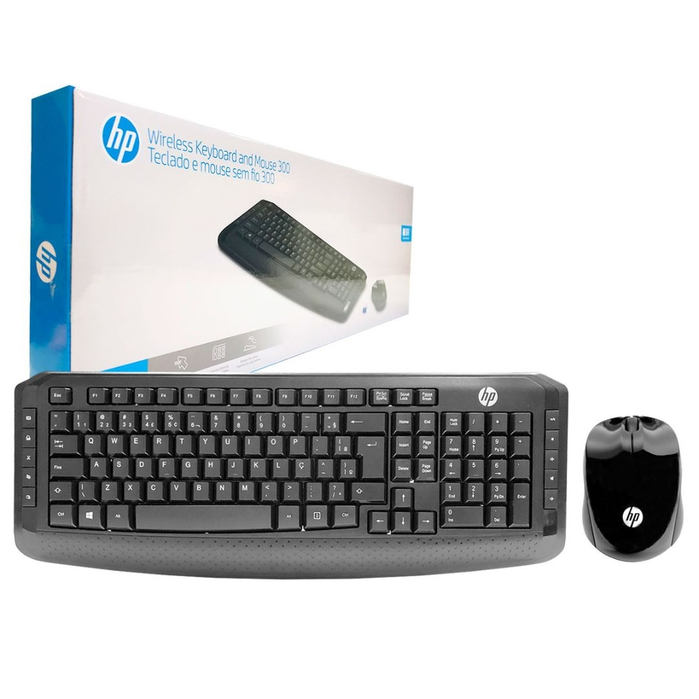 Kit Teclado e Mouse HP 300 Wireless 1600DPI ABNT2 3ML04AA#AC4
