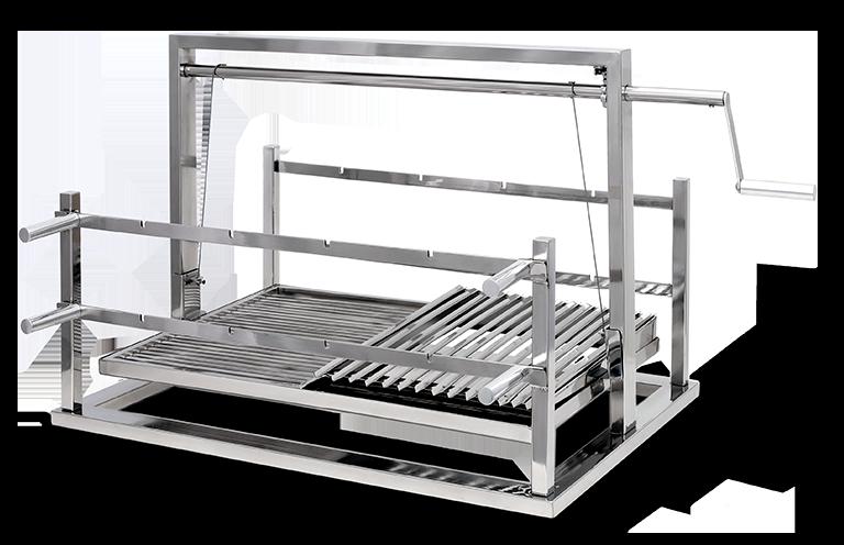 Grill Premiun Elevatorio com suporte para espetos  inox  disponível nas medidas (60x50 , 70x50 , 80x50 , 90x50 , 100x50)