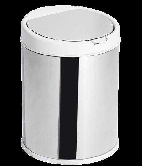 Lixeira click 3 litros inox com tampa Branca
