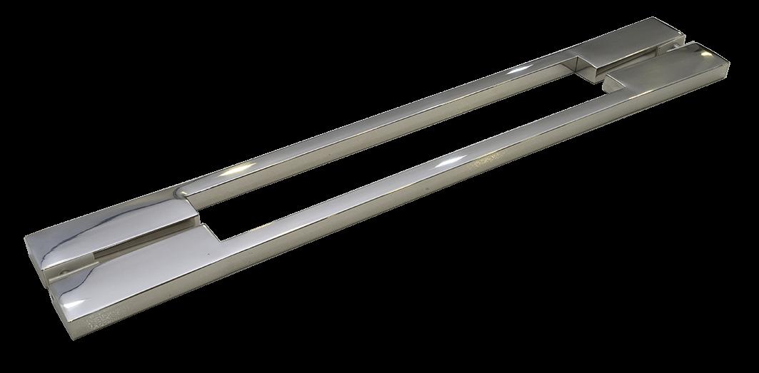 Puxador Porta Madeira/Vidro 100% Inox 304 Polido 40 CM.