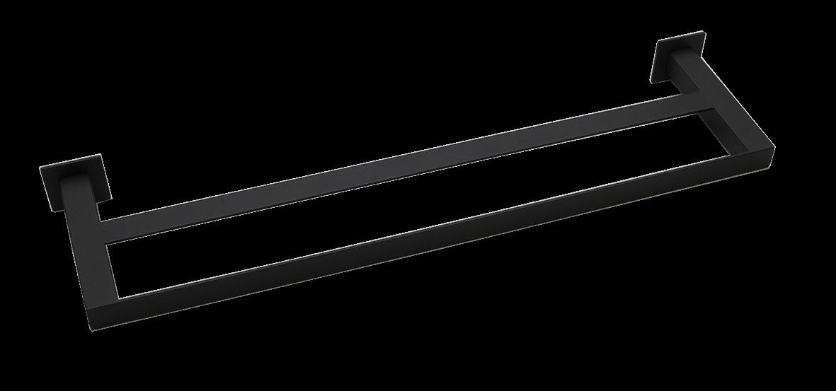 Toalheiro Duplo Steel Inox Preto Fosco 600mm