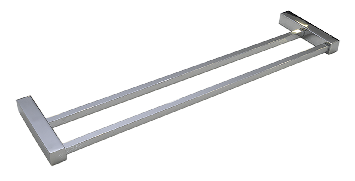 Toalheiro Duplo Ilheus 100% Inox 304 Polido 400mm